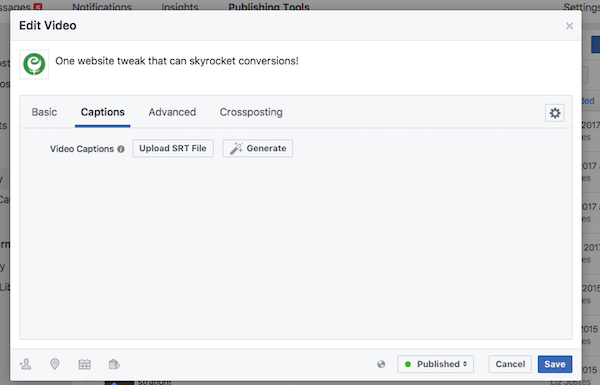Click to generate Facebook captions or upload an SRT file