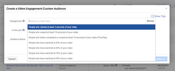 Facebook Video Custom Audience by Percentage of video viewed