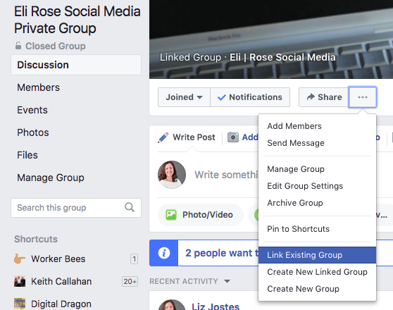 Link Existing Facebook Group Drop Down menu