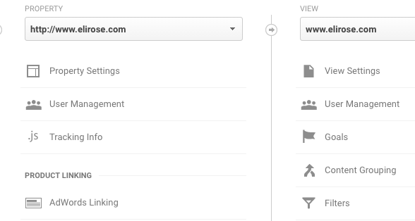 Goals tab inside Google Analytics Admin section