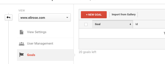 Click to create a New Goal in Google Analytics