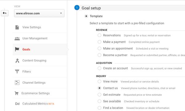 Select Google Analytics Goal Type