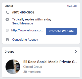 Facebook Group showing in right sidebar on Facebook Page