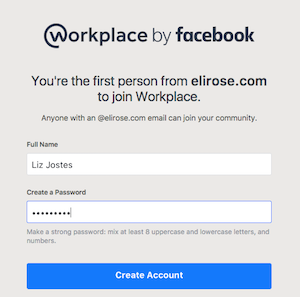 Confirm Workplace by Facebook account
