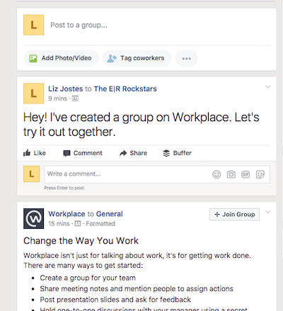 Read Workplace by Facebook news feed posts