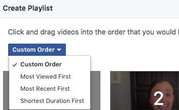 Arrange order of videos in Facebook Playlist