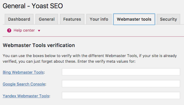 Add Webmaster Tools to Yoast SEO plugin