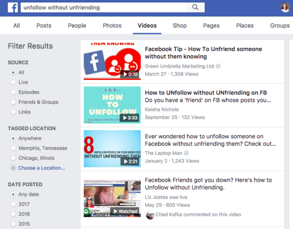 Facebook video search results