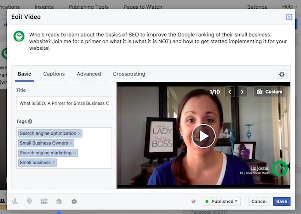 Facebook Video Edit Screen