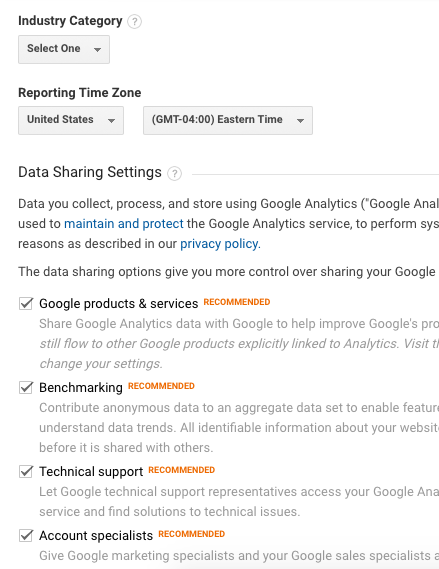Google Analytics Industry and time zone