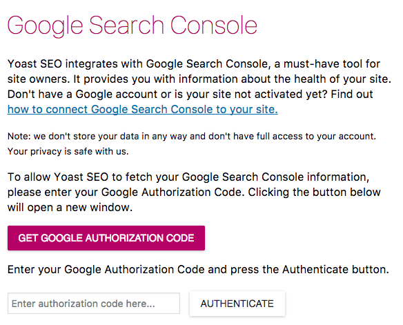 Yoast SEO Plugin Google Search console authorization