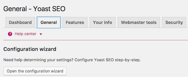 Yoast SEO plugin configuration wizard settings