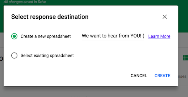 Create Google Forms answer destination