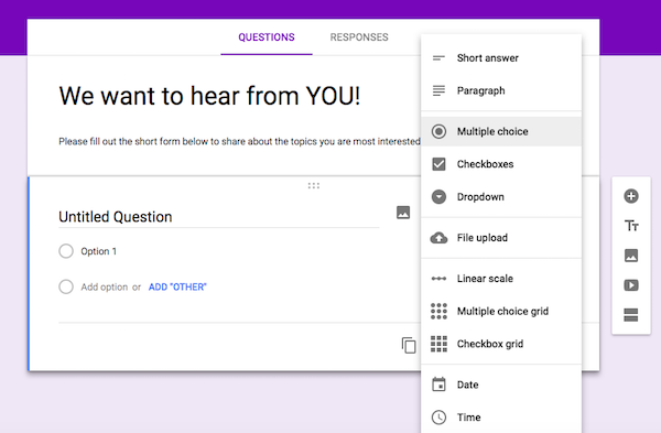 Customize Google Forms Questions