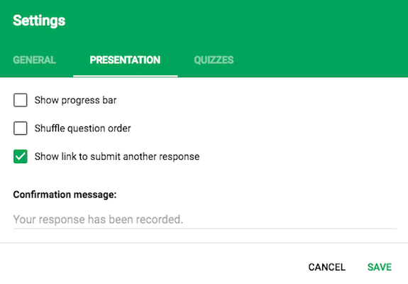 Google Forms Responses Presentation Settings