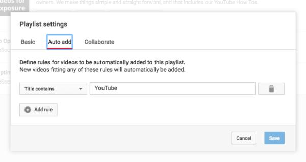 Auto add YouTube Playlist rule