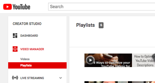 YouTube Dashboard Playlist