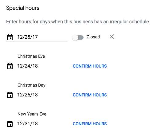 Confirm holiday hours on Google My Business listing