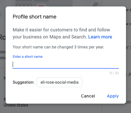 Enter Google My Business Profile Short Name