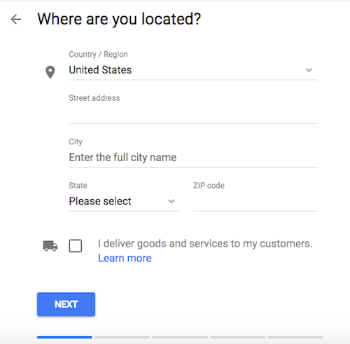 Google My Business Add Address