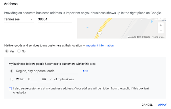 Hide address in your Google My Business listing