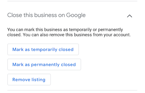 Mark business as temporarily closed on Google My Business