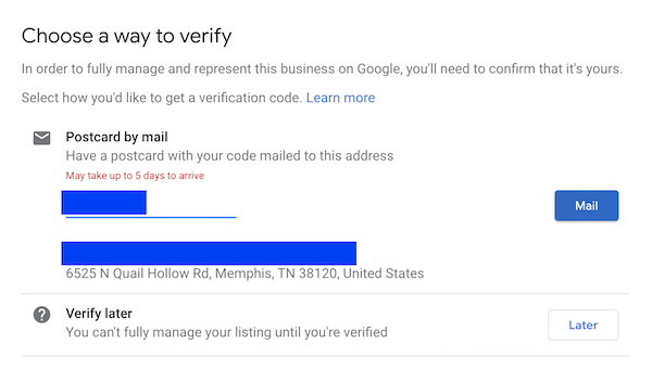 Re-verify your Google My Business listing after address change