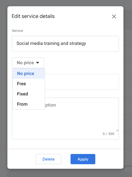 Service description and price for your Google My Business listing