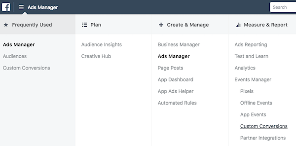 Facebook Ads Manager select Custom Conversions