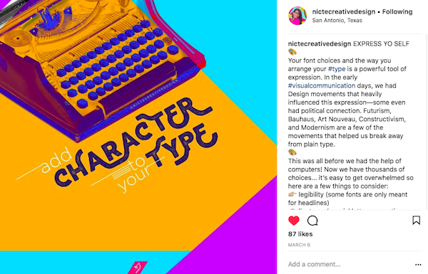 Nicte Creative Design Instagram grid typewriter
