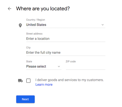 Add Business Location Address for Google My Business