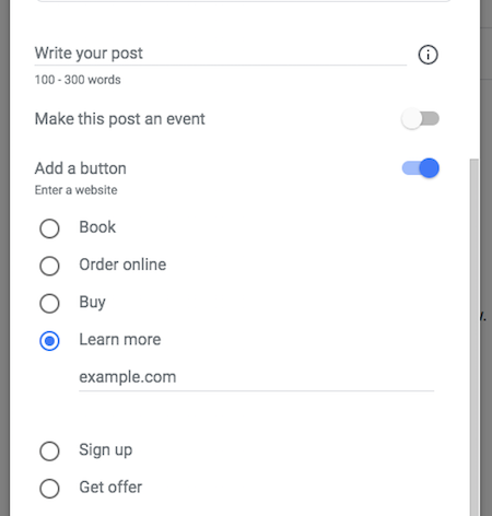 Call to action for Google My Business Post