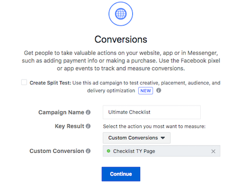 Choose Custom Conversion for Facebook Conversion Ads