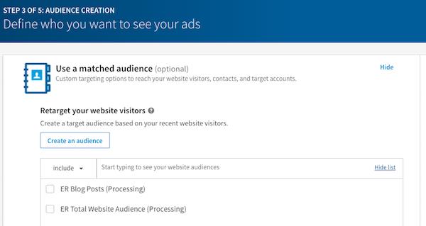 Choose LinkedIn Custom Audience for LinkedIn Ad Targeting