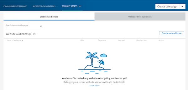 Create a custom website audience for LinkedIn