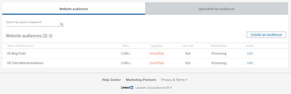 Verify LinkedIn Custom Audience