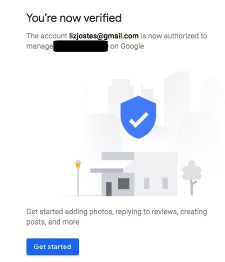 Google My Business Location Verification Complete