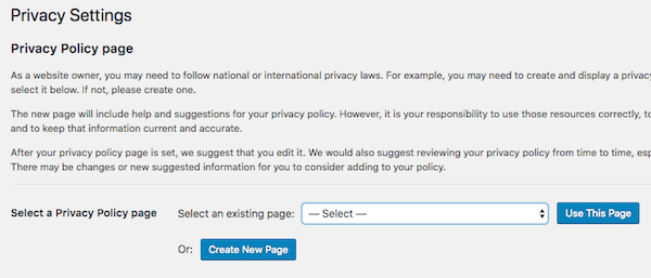 Create WordPress Privacy Policy page