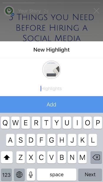 Add new Instagram Highlight