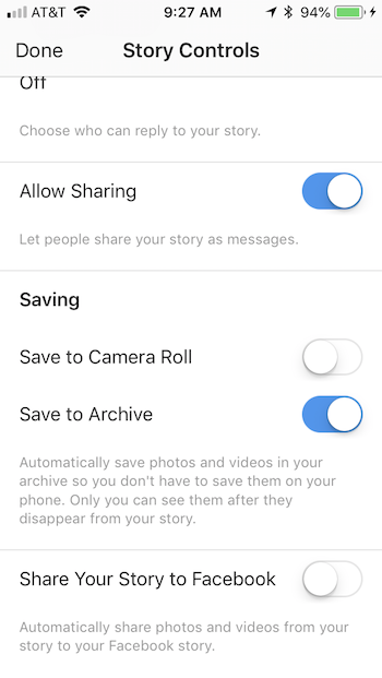 Instagram Story Controls on your Business account