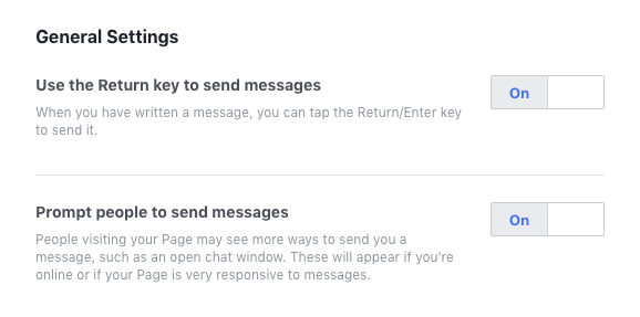 Facebook Business Page Messaging General Settings