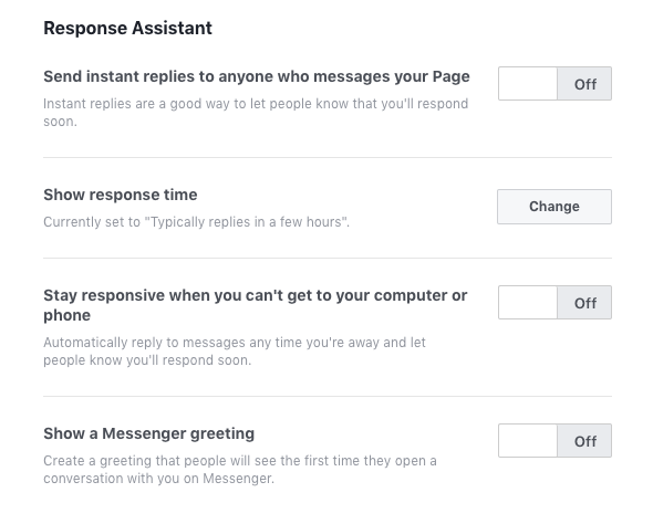 Facebook Business Page Messaging Response Assistant