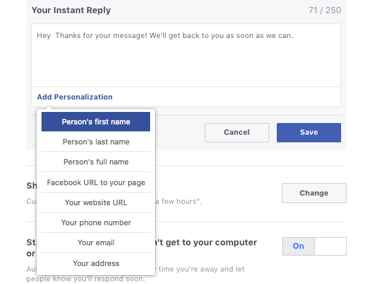 Personalized your Facebook Business Page instant messages