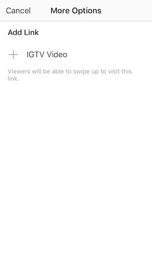 Add link from Instagram Stories to IGTV