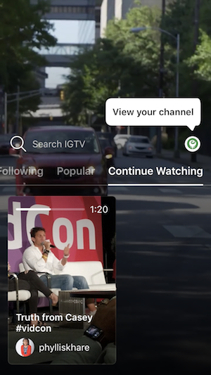 View IGTV Channel