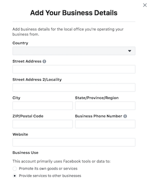 Add business info to Business Manager