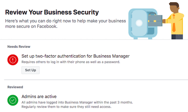 Business Manager Security settings