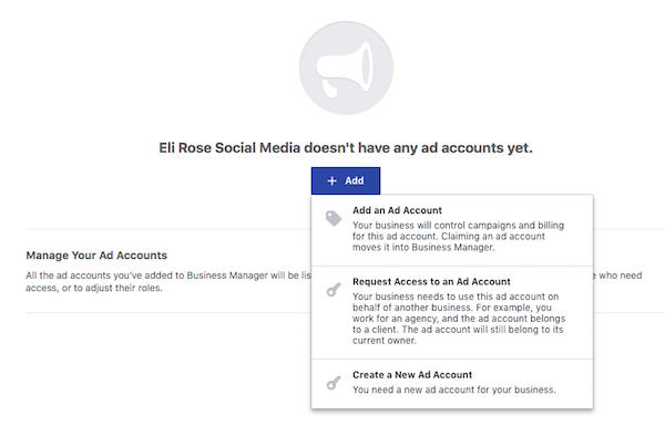 Choose Ads Account Access Level for Business Manager