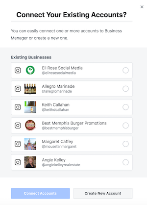 Choose Existing Facebook Business Page to move to Business Manager