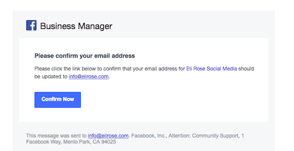 Click to confirm Business Manager
